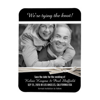Classy Black and White Photo Save the Date Rectangular Photo Magnet