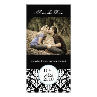 Classy Black and White Save the Date Photocard Photo Card