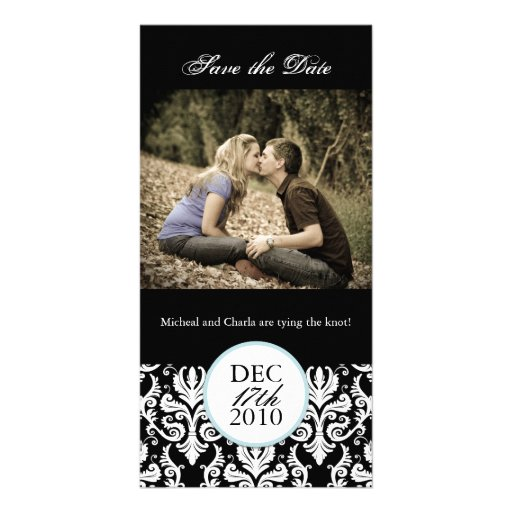 Classy Black and White Save the Date Photocard Photo Greeting Card