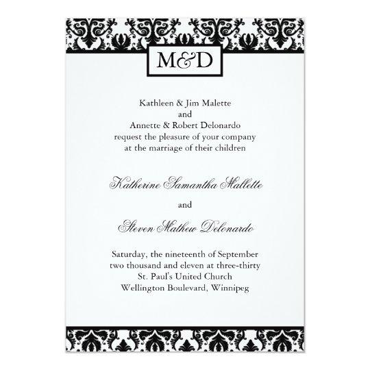 Classy Black and White Wedding Invitation