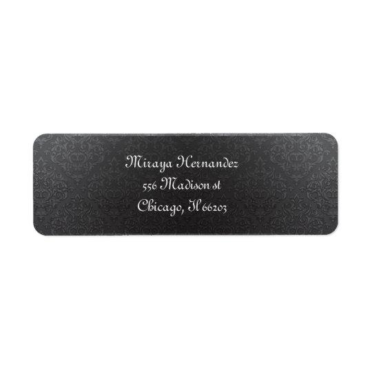 Classy Black Damask Address Labels