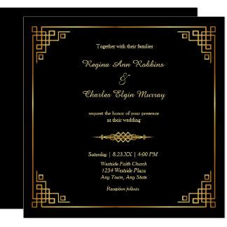Classy Black Gold Frame Formal Wedding Invitation