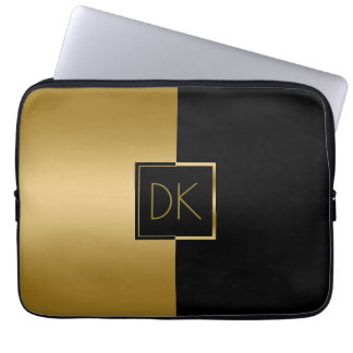 Classy Black & Gold Geometric Design Laptop Sleeve