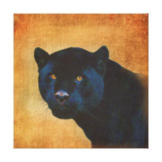 Classy Black Jaguar Big Cat on Rustic BG Canvas Print