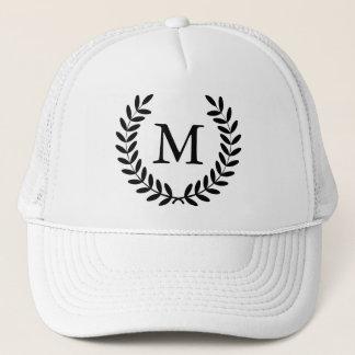 Classy Black Laurels & Monogram Letter Trucker Hat