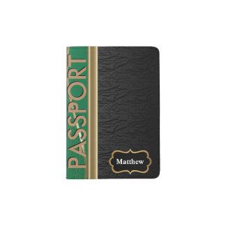 Classy Black Leather, Dark Green and Gold Passport Holder