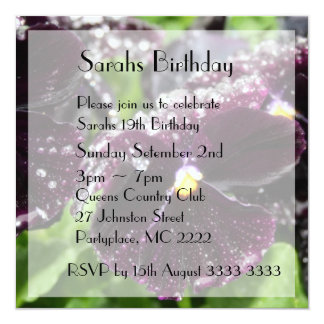 Classy Black Pansy Birthday Party Invitations