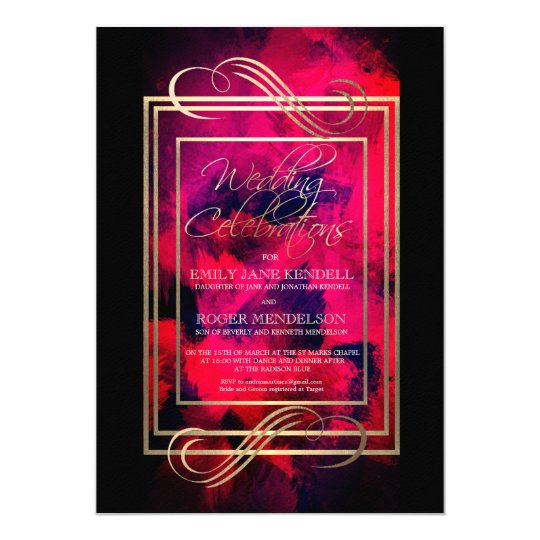 Classy Black, Pink and Gold Abstract Wedding Card