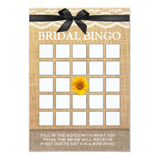 Classy Black Ribbon Sunflower Burlap Bridal Bingo Card