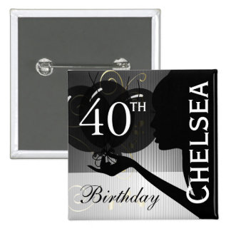 Classy Black Silhouette Birthday Girl 15 Cm Square Badge