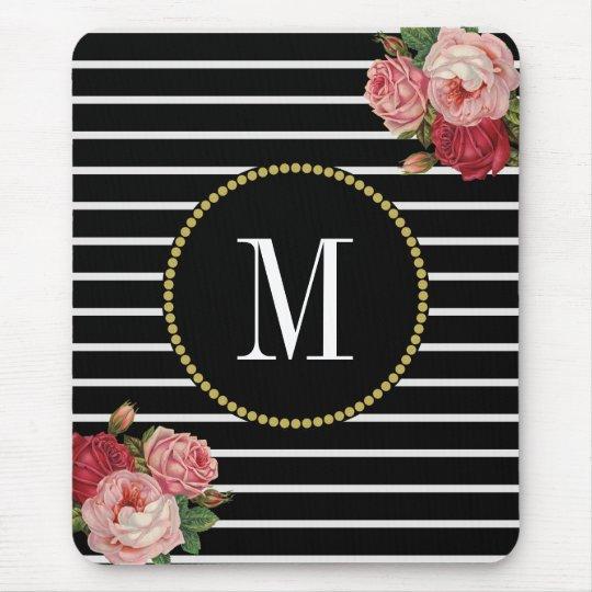 Classy Black Striped Antique Boho Floral Monogram Mouse Mat