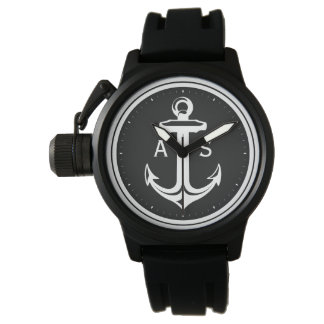 Classy Black White Anchor | Nautical Gifts Watches