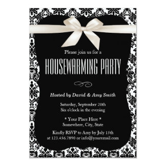 Classy Black & White Damask Housewarming Party 13 Cm X 18 Cm Invitation Card
