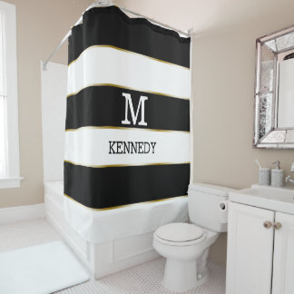 Classy Black White Gold Stripes Monogrammed Shower Curtain