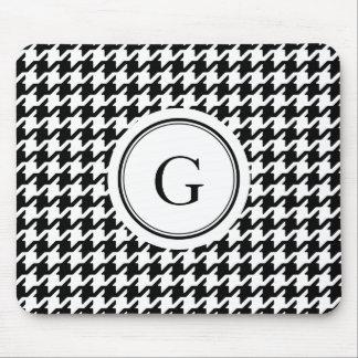 Classy black white houndstooth pattern monogram mousepad