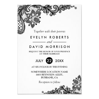 Classy Black White Lace Pattern Formal Wedding Card