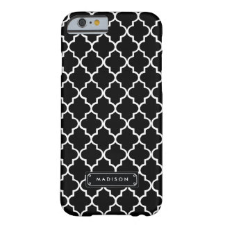 Classy Black White Moroccan Tiles Personalized Barely There iPhone 6 Case