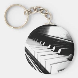 Classy Black & White Piano Photography Basic Round Button Key Ring