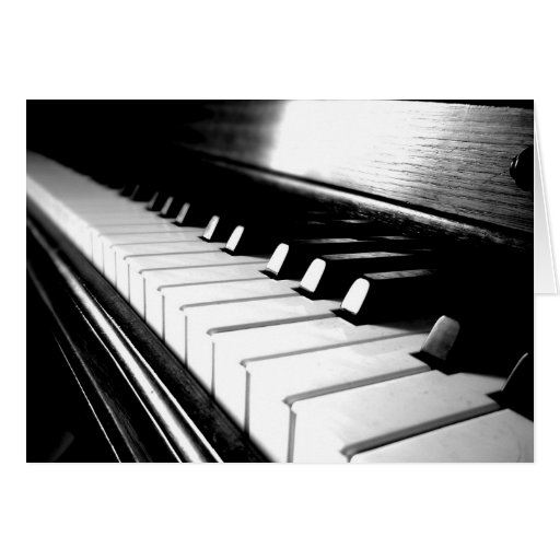 Classy Black & White Piano Photography Greeting Cards