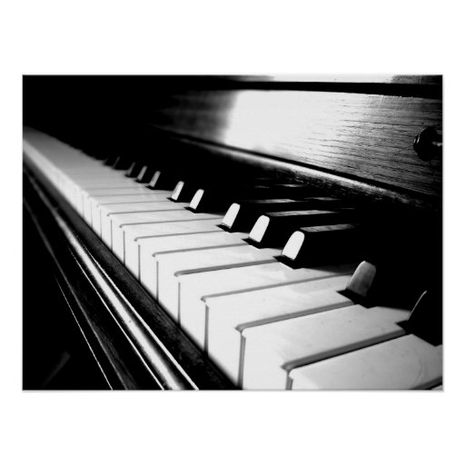 Classy Black & White Piano Photography Poster