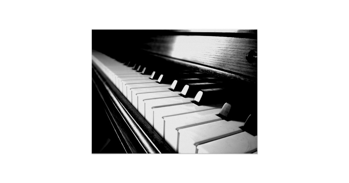 classy black amp white piano photography poster zazzlecouk