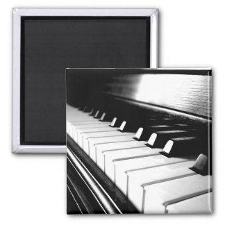 Classy Black & White Piano Photography Square Magnet