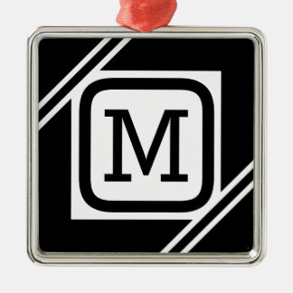 Classy Black & White Simple Square Lined Monogram Christmas Ornament