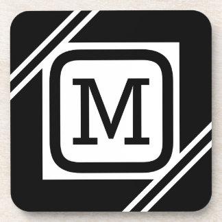 Classy Black & White Simple Square Lined Monogram Coaster
