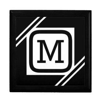 Classy Black & White Simple Square Lined Monogram Gift Box