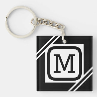 Classy Black & White Simple Square Lined Monogram Key Ring