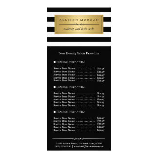 Classy Black White Stripes Golden Label Price List Rack Card Template