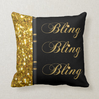 Classy Bling And Faux Glitter Design Throw Pillow