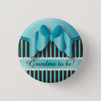 Classy Blue and Brown Stripes 3 Cm Round Badge