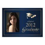 Classy Blue and Gold 2012 Graduate Photo Invite