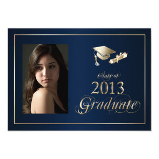 Classy Blue and Gold 2013 Graduate Photo Invite