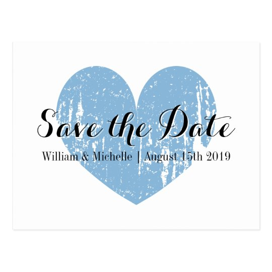 Classy blue and white heart Save the date