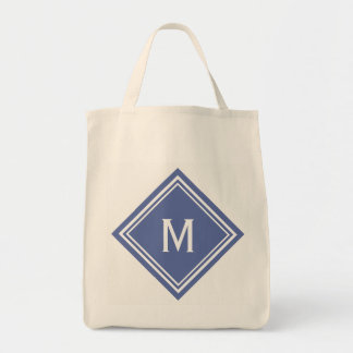 Classy Blue Diamond Monogram Tote Bag