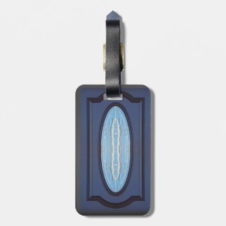 Classy Blue Etched Center Oval Shape Luggage Tag