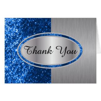 Classy Blue Glitter Brush Steel Metal Look Note Card