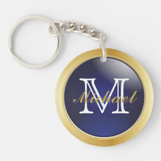Classy Blue Gold Styled Monogram | DIY Text Double-Sided Round Acrylic Key Ring