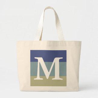Classy Blue Khaki Striped Color Palette Monogram Large Tote Bag