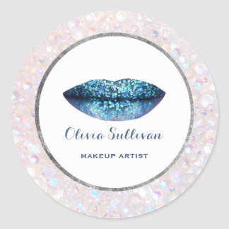 classy blue mermaid lips on iridescent pearls classic round sticker