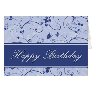 Classy Blue Natural Swirl Birthday Card