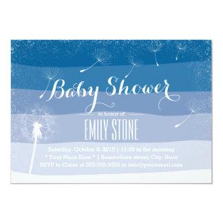 Classy Blue Shades Dandelion Blowing Baby Shower 13 Cm X 18 Cm Invitation Card