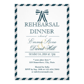 Classy Blue White Rehearsal Dinner Invitations