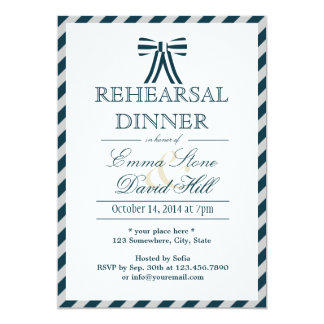 Classy Blue & White Rehearsal Dinner Invitations