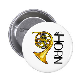 Classy Brass French Horn Button