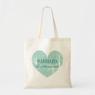 Classy bridesmaid tote bags | vintage teal heart