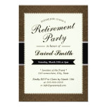 Classy Brown Damask Retirement Party Invitations
