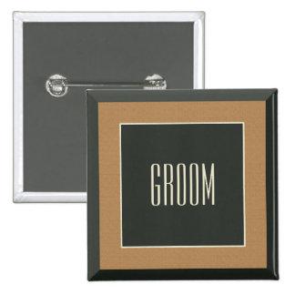Classy Brown Framed Groom Badge for a Bear Wedding